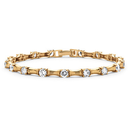 4.32 TCW Cubic Zirconia Bamboo Link Bracelet 14k Gold-Plated at PalmBeach Jewelry