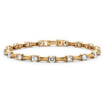 4.32 TCW Cubic Zirconia Bamboo Link Bracelet 14k Gold-Plated