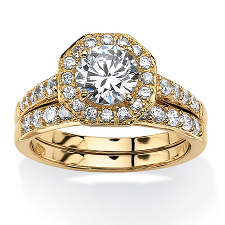 2.36 TCW Round Cubic Zirconia Octagon Halo Two-Piece Bridal Ring Set at PalmBeach Jewelry