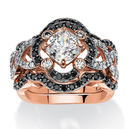 2.97 TCW Princess-Cut Cubic Zirconia Three-Piece Halo Bridal Ring Set in Rose Gold-Plated at PalmBeach Jewelry