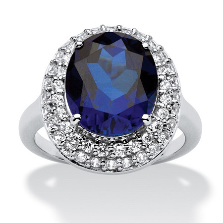 6.68 TCW Oval-Cut Sapphire Double Halo Ring in Platinum over .925 Sterling Silver at PalmBeach Jewelry