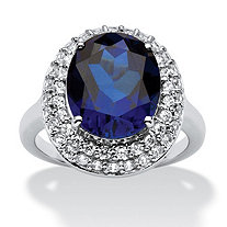 6.68 TCW Oval-Cut Sapphire Double Halo Ring in Platinum over .925 Sterling Silver