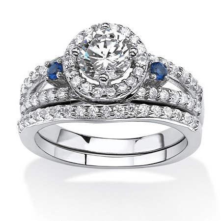 1.72 TCW CZ and Created Sapphire Halo Bridal Set in Platinum Over .925 Sterling Silver at PalmBeach Jewelry