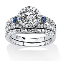 1.72 TCW CZ and Created Sapphire Halo Bridal Set in Platinum Over .925 Sterling Silver