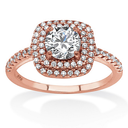 1.45 TCW Round Cubic Zirconia Double Halo Ring Set in Rose Gold-Plated .925 Sterling Silver at PalmBeach Jewelry