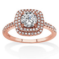 1.45 TCW Round Cubic Zirconia Double Halo Ring Set in Rose Gold-Plated .925 Sterling Silver
