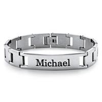 Men's Stainless Steel Personalized I.D. Interlock-Link Bracelet ONLY $15.55