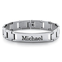 Men's Stainless Steel Personalized I.D. Interlocking-Link Bracelet 8.5""