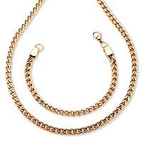 Men's Curb-Link 2-Piece Chain And Bracelet Set In Gold Ion-Plated Stainless Steel