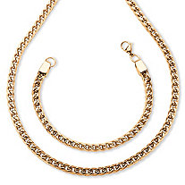 Men's Franco-Link Chain and Bracelet Set Gold Ion-Plated Stainless Steel