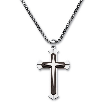 Men's Triple Layer Cross and Box Chain Pendant Necklace in Black Ion-Plated Stainless Steel 24