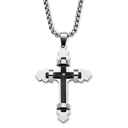 Crystal Accent Gothic Layered Cross Necklace in Black Ion-Plated Stainless Steel 24