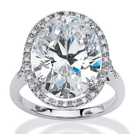 9.49 TCW Oval-Cut Cubic Zirconia Halo Ring in Platinum over Sterling Silver at PalmBeach Jewelry