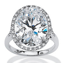 SETA JEWELRY 9.49 TCW Oval-Cut Cubic Zirconia Halo Ring in Platinum over Sterling Silver