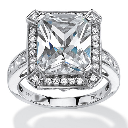 5.52 TCW Emerald-Cut Cubic Zirconia Halo Ring in Platinum over Sterling Silver at PalmBeach Jewelry