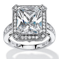 5.52 TCW Emerald-Cut Cubic Zirconia Halo Ring in Platinum over Sterling Silver