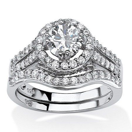 1.67 TCW Round Cubic Zirconia 2-Piece Halo Bridal Set in Platinum Over .925 Sterling Silver at PalmBeach Jewelry
