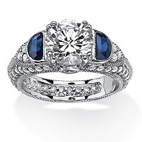 3.20 TCW Cubic Zirconia and Created Blue Sapphire Ring in Platinum Over .925 Sterling Silver