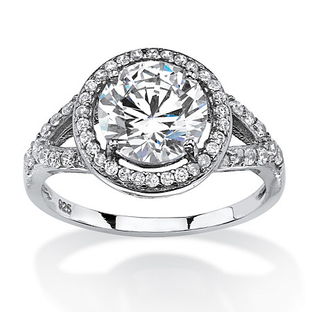2.32 TCW Round Cubic Zirconia Split-Shank Halo Engagement Ring in Platinum Over .925 Sterling Silver at PalmBeach Jewelry