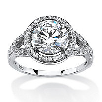 2.32 TCW Round Cubic Zirconia Split-Shank Halo Engagement Ring in Platinum Over .925 Sterling Silver
