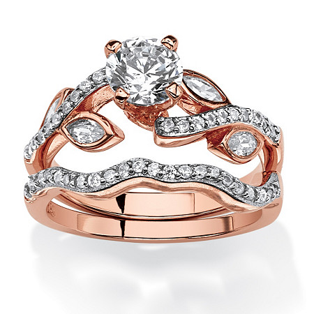 1.66 TCW Round Cubic Zirconia Two-Piece Bridal Set in Rose Gold Tone Over .925 Sterling Silver at PalmBeach Jewelry