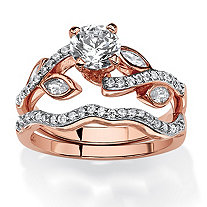 SETA JEWELRY 1.66 TCW Round Cubic Zirconia Two-Piece Bridal Set in Rose Gold Tone Over .925 Sterling Silver