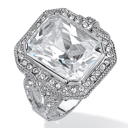 14.25 TCW Emerald-Cut Cubic Zirconia and Crystal Pave Halo Cocktail Ring Platinum-Plated at PalmBeach Jewelry