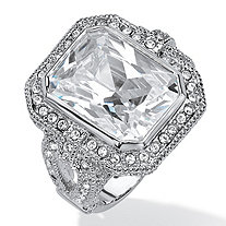 14.25 TCW Emerald-Cut and Round Pave Cubic Zirconia Halo Cocktail Ring Platinum-Plated