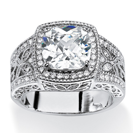 3.27 TCW Cushion-Cut Cubic Zirconia Halo Ring with Butterfly and Cubic Zirconia Accents at PalmBeach Jewelry