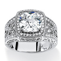 3.27 TCW Cushion-Cut Cubic Zirconia Halo Ring with Butterfly and Cubic Zirconia Accents