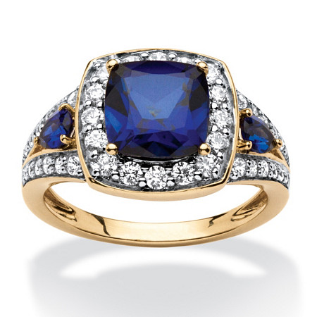 3.33 TCW Cushion-Cut Created Sapphire Halo Ring 18k Gold over Sterling Silver at PalmBeach Jewelry