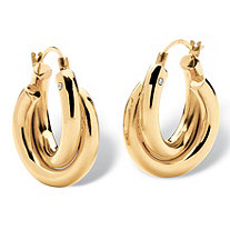 Double Twist Hoop Earrings 14k Gold Nano Diamond Resin Filled 3/4""