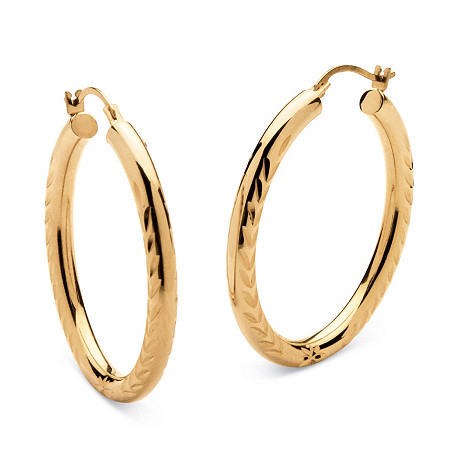 14k Yellow Gold Nano Diamond Resin Filled Diamond-Cut Hoop Earrings at PalmBeach Jewelry