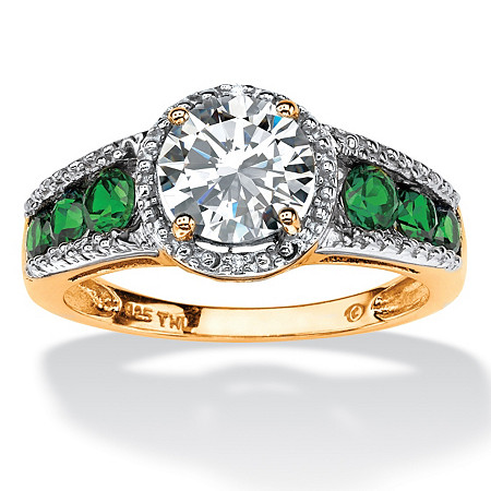 2.27 TCW Round Cubic Zirconia and Emerald Halo Ring in 18k Gold Over Sterling Silver at PalmBeach Jewelry
