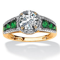 2.27 TCW Round Cubic Zirconia and Emerald Halo Ring in 18k Gold Over Sterling Silver