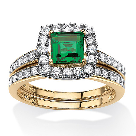 1.07 TCW Princess-Cut Emerald Two-Piece Halo Bridal Ring Set in 18k Gold over Sterling Silver at PalmBeach Jewelry