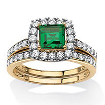 SETA JEWELRY 1.07 TCW Princess-Cut Emerald Two-Piece Halo Bridal Ring Set in 18k Gold over Sterling Silver