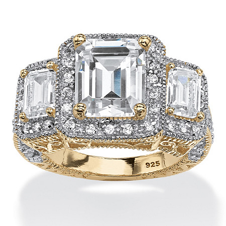 5.12 TCW Emerald-Cut Cubic Zirconia Halo Ring in 14k Gold over Sterling Silver at PalmBeach Jewelry