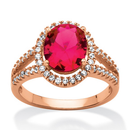 3.58 TCW Oval-Cut Created Red Ruby Halo Ring Rose Gold over Sterling Silver at PalmBeach Jewelry