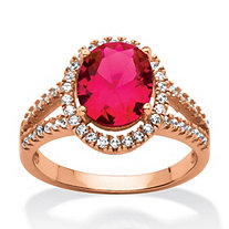 3.58 TCW Oval-Cut Created Red Ruby Halo Ring Rose Gold over Sterling Silver