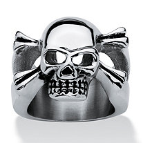 Men's Stainless Steel Skull and Crossbones Ring
