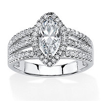 1.56 TCW Marquise-Cut Triple Shank Halo Engagement Ring in Platinum Over .925 Sterling Silver