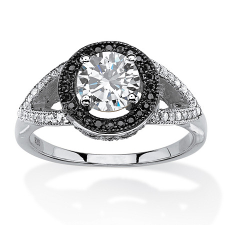 1.52 TCW Round White and Black Cubic Zirconia Halo Ring in Platinum and Black Ruthenium Over Silver at PalmBeach Jewelry