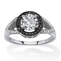 1.52 TCW Round White and Black Cubic Zirconia Halo Ring in Platinum and Black Ruthenium Over Silver