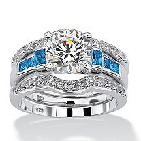 2.39 TCW Round Cubic Zirconia and Simulated Sapphire Baguette Platinum over Silver 3-Piece Bridal Set
