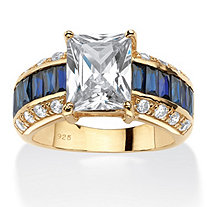 6.96 TCW Emerald-Cut Cubic Zirconia and Sapphire Blue Ring in 14k Gold Over .925 Sterling Silver