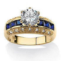 3.53 TCW Round Cubic Zirconia and Simulated Blue Sapphire Ring in 14k Gold Over Sterling Silver