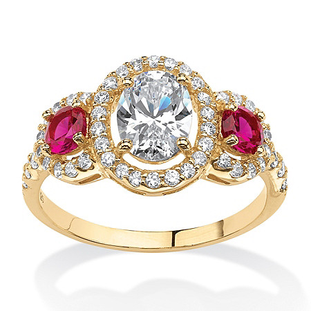 2.39 TCW Floating Halo Ring with Created Ruby and CZ accents in 18k Gold over Sterling Silver at PalmBeach Jewelry