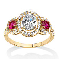 2.39 TCW Floating Halo Ring with Created Ruby and CZ accents in 18k Gold over Sterling Silver