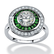 3.26 TCW Round Cubic Zirconia and Emerald Halo Ring in Platinum Over Sterling Silver